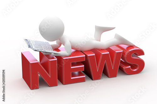 Man reading, lying on the News word
