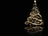 stylized Christmas tree on black background