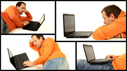 Man with laptop isolated, montage