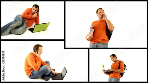 Young male student with personal electronics, montage