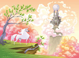 Unicorn and mythological landscape. Vector illustration poster