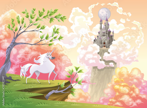 Foto op Canvas Kasteel Unicorn and mythological landscape. Vector illustration