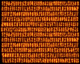 Orange mysterious symbols poster