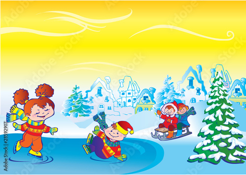 Winter story. Vector art-illustration. Happy childhood.