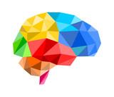 3d polygon brain poster