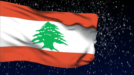 Lebanon flag waving. White snow background. Seamless loop.