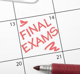 Calendar reminder, final exams