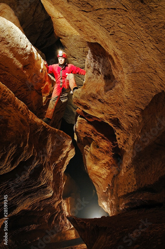 Cave passage with caver