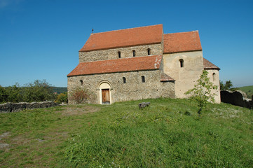 Old church in Romanesque style. Cisnadioara, Romania