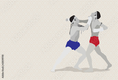 Muay Thai martial art vector illustration