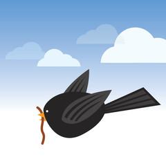 Bird with worm