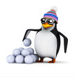 3d Penguin has a ready supply of snowballs