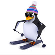 3d Penguin skiing the slopes in his wooly hat
