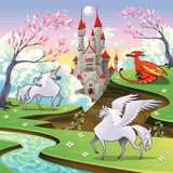 Pegasus, unicorn and dragon in a mythological landscape poster