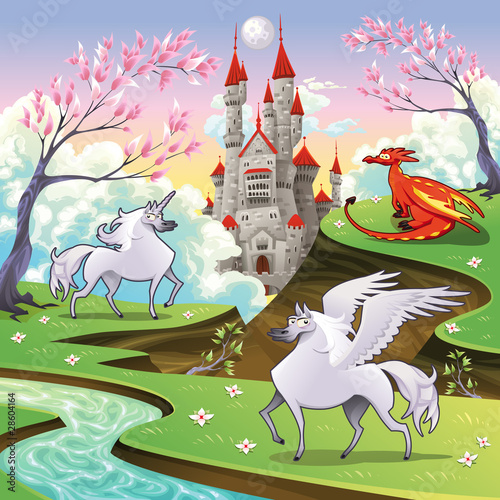 Pegasus, unicorn and dragon in a mythological landscape