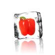 Paprika im Eisblock