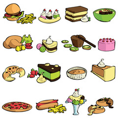 food and sweet set