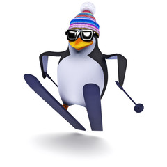 3d Penguin skiing like a pro
