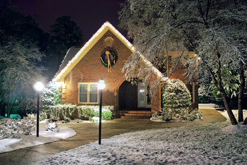 Christmas decorated cottage