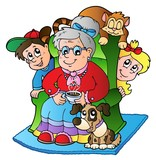 Cartoon grandma with two kids