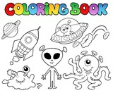 Fototapety Coloring book with aliens