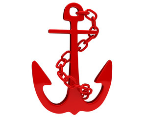 red glossy anchor with twisted chain isolated on white