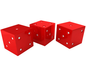 three bright red dices isolated on white