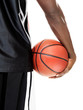 Cropped image of african american guy holding a basketball