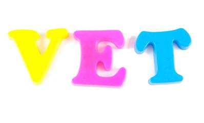 vet written in fridge magnets on white background