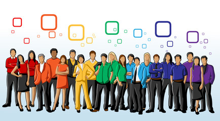 Group of Colourful People. rainbow colors.