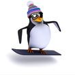 3d Penguin goes snowboarding