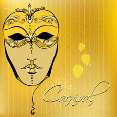 illustrated background with mask for your carnival design