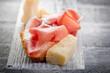 slice bread with parma ham and grana -pane prosciutto grana
