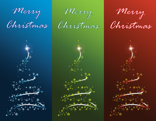Merry Christmas postcards. Christmas tree vector illustration.