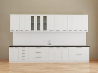 Modern empty kitchen in white
