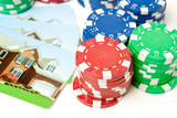 Poker Chips House Playing Cards Gambling Bet the House poster