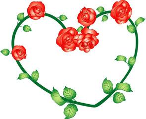 バラの枝葉のハート1