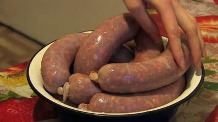 Raw Stuffed sausages, Closeup