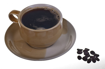 cup of coffee and coffe beans