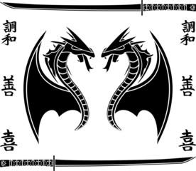 japanese flying dragons. stencil