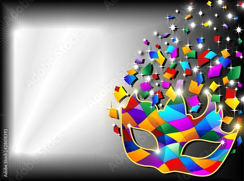 Maschera Arlecchino Sfondo-Harlequin Mask Background-2-Vector