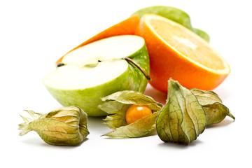 Orange, Physalis, Apfel