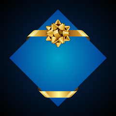 Greeting blue card with gold bow