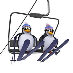 3d Penguins use the ski lift