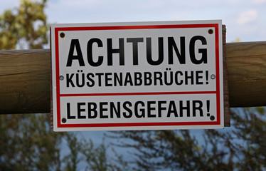 Warnschild Küstenabbrüche, Rügen