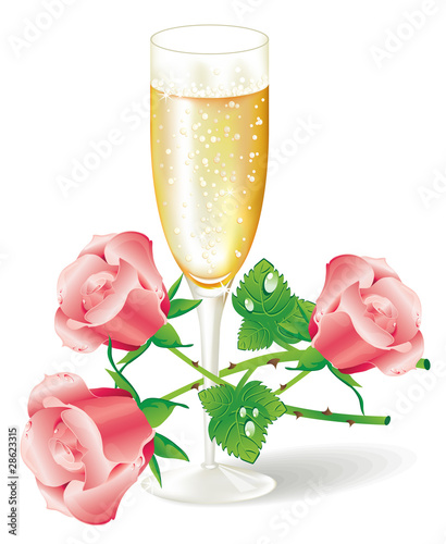 Glass of champagne with pink roses