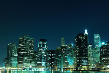 Manhattan Skyline from Brooklyn At Night, New York City