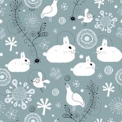 seamless pattern of white rabbits