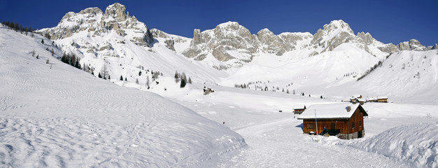 Winter panorama near San Pellegrino Pass