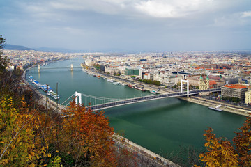 View on Budapest and Danube from Citadela, Hungary